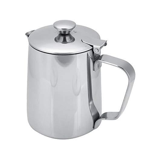 Tazza caffè acciaio inox latte Brocca con brocca e coperchio caffè Art cucina ufficio con manico(350ML-Argent)