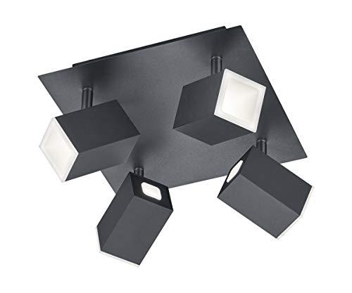 Trio Leuchten LED Strahler Lagos 827830432, Metall, Schwarz matt, 4 x 6 Watt, Switch Dimmer