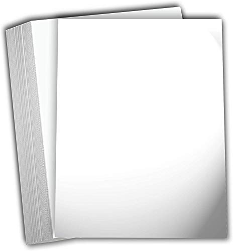 Hamilco White Glossy Cardstock Paper - 8 1/2 x 11' 80 lb Cover Card Stock - 50 Pack