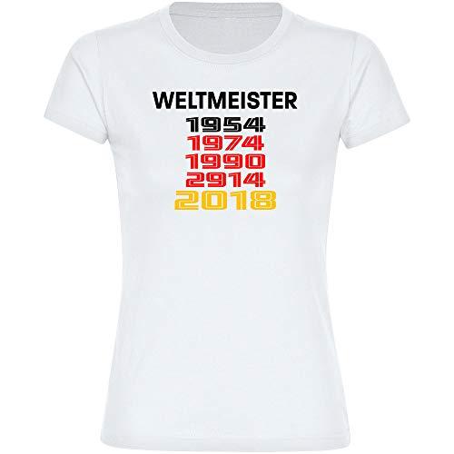Multifanshop T-Shirt Deutschland mit Aufschrift Weltmeister und Jahreszahlen Retro 1954 1974 1990 2014 2018 Trikot Damen weiß Gr. S-2XL - Fanshirt Fußball EM WM,Größe:XXL