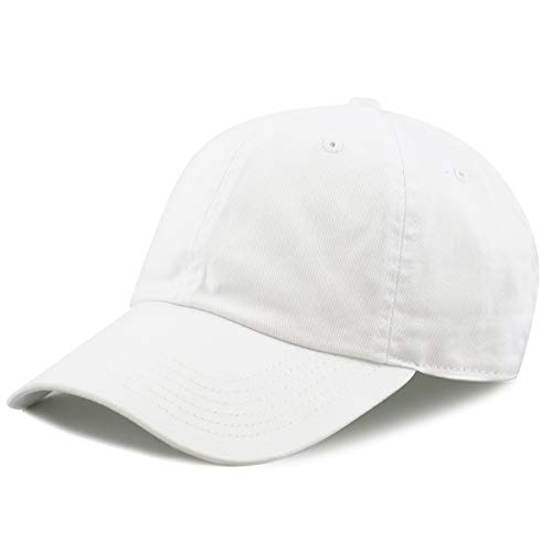 The Hat Depot Washed Cotton Low Profile Baseball Cap (White)