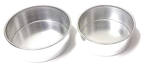 TRYTOOK 6 inch and 7 inch Combo (Set of 2 pcs) Aluminum Cake Sponge Baking Mould's for Microwave Oven 1/2 &1 kg Cake