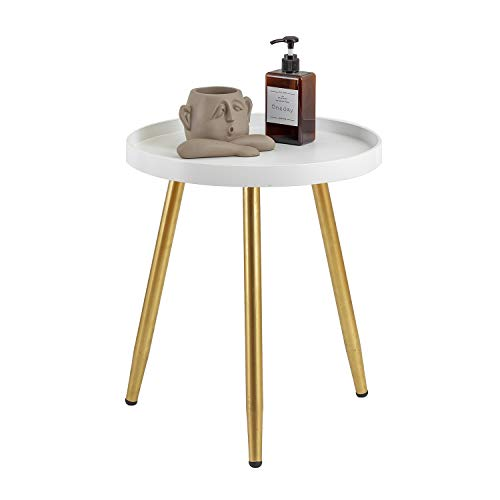 """MHKanS Round Side Table 18' H x 15""""D Accent Table Nightstand Coffee Table White Wooden Tray Table..."""