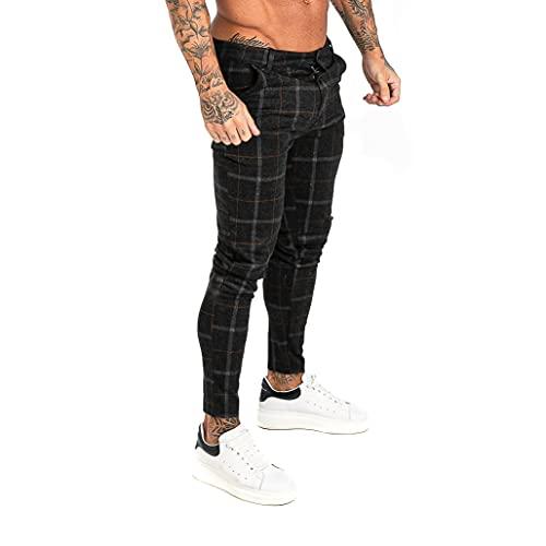 MG MORENGAR Pantalón Marsella Chinos Ajustados y Elegantes de Cuadros en Color Negro para Hombre, Pantalones Chinos de Vestir de Cuadros elásticos y Ajustado Cintura a Tobillos
