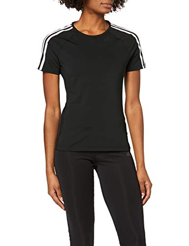adidas Damen T-Shirt D2M 3-Stripes, Black, L, BK2682