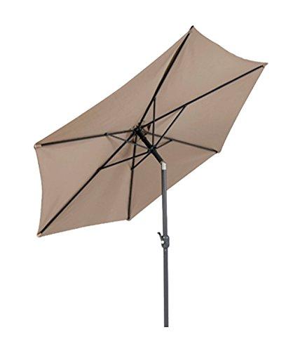 LINDER EXCLUSIV Sonnenschirm Ø 3m mit Knick knickbar mit Kurbel Schirm Gartenschirm 4 Farben (Taupe)