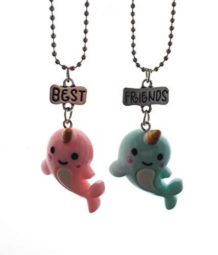 Mingjun 2pezzi Set collana unicorno ciondolo balena delfino ciondolo collana Best Friend BFF collana per bambini gioielli
