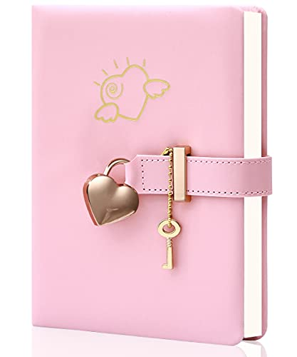 Diary with Lock and Key PU Leather Kids Journal with Lock Personal Organizer Combination Travel Secret Notebook for Women, 5.3x7 in, Pink