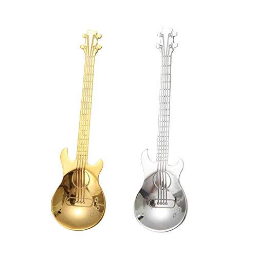 Löffel, 304 Edelstahl Kreativer Gitarrenlöffel, 2 Stück Bass-kaffee-rührlöffel, Musik-bar Geschenklöffel Bunt Musik Kaffee Niedliches Teelöffel-set (weiß, Gold)