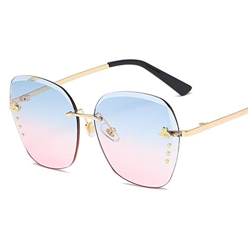 Gafas De Sol Gafas De Sol De Mujer Diseñador De La Marca Gafas De Metal Cuadradas Accesorios De Miel De Abeja Lentes De Colores Graduales Lentes De Conducción Uv400 Rosa