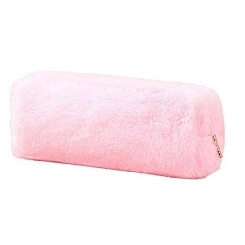 Braceus Lovely Girl Plush Fuzzy Fluffy Pencil Case Makeup Pouch Coin Purse Storage Bag Pink