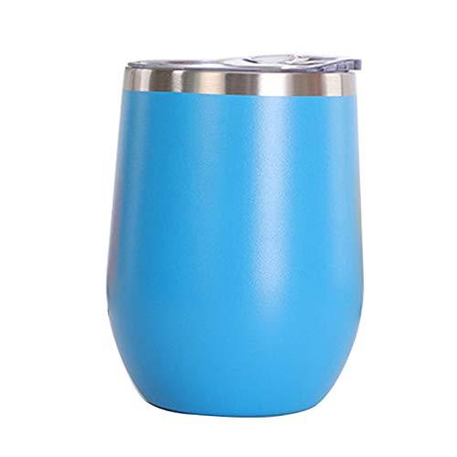 Vaso de Agua de Acero Inoxidable con Tapa, 12 oz Vacío de Doble Pared Vacío Vacipador Copa para café, Vino, cócteles, Helado,Azul