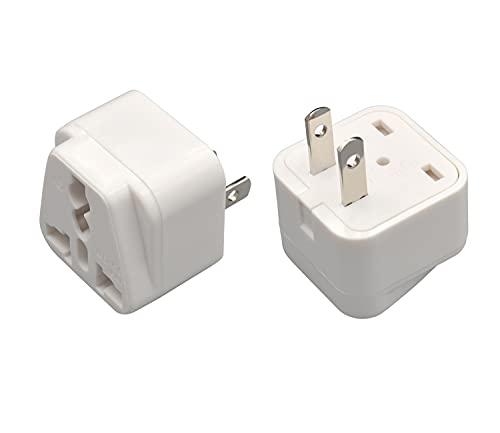 ALSihmng JP プラグ 国際 アダプター トラベル パワー コンバータ ユニバーサル から 日本 コンセント プラグ ホワイト 日本 アダプター 電源 コンバーター AC 2顎 2パック ホワイト