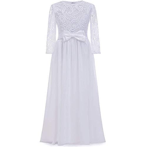CDE Kinder Boho Lange Spitzenkleid Chiffon Kleid mit Gürtel und Schleife/Chic A-Linie Cocktailkleid Brautjungfernkleider Blumenmädchenkleider für Mädchen 2-12 Jahr (Weiß, 10)