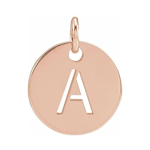 Colgante de oro rosa de 14 quilates con nombre de letra personalizada, monograma inicial de 10 mm, con colgante de disco de inicial, para regalo de joyería para mujeres