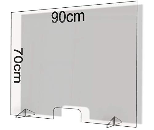 Parafiato in Plexiglass Barriera Plexiglass Parasputi in Plexiglass Barriere Barriera Protettiva Divisorio Separatore da Banco Bancone Divisori per Ufficio Pannelli Lastre Pannello (90x70)