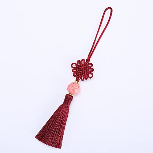 2 Piezas Flor de Loto Cuentas Nudos Chinos borlas joyería de Bricolaje Bolsa de Cortina Accesorios Decorativos Colgante Artesanal borlas-Rojo Burdeos
