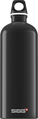 SIGG Traveller Black Trinkflasche (1 L), schadstofffreie und auslaufsichere Trinkflasche, federleichte Trinkflasche aus Aluminium