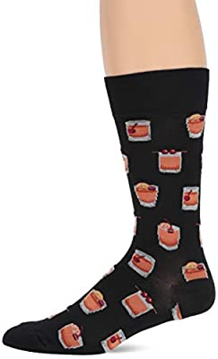Hot Sox Men's Food and Booze Novelty Casual Crew, Old Fashioned (black), Shoe Size: 6-12 (Sock Size: 10-13)