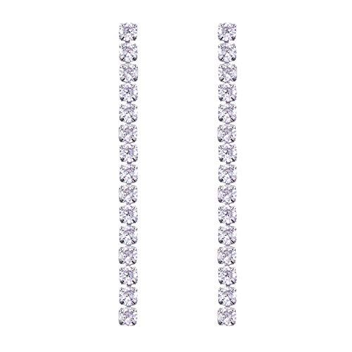 LAXPICOL Long Tassel Dangle Earrings Single Chain Party Jewelry Sparkly 4MM Cubic CZ Zircon Silver Tone
