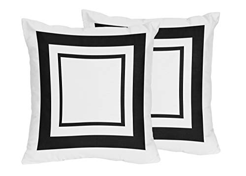 Sweet Jojo Designs Contemporary White and Black Modern Hotel Decorative Accent Throw Pillows Set of 2