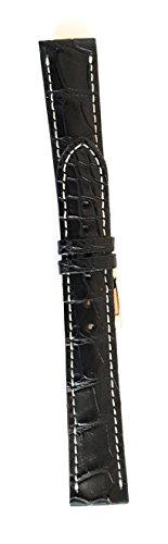 Armband aus echtem Alligator Made in Italy 18mm 20mm gepolstert 18-16 Nero Cucito Ecrù