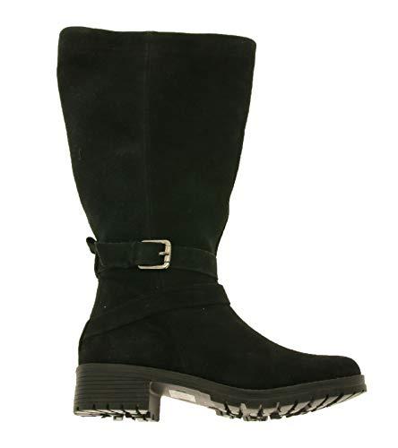 Sheego Schuhe Echtleder-Stiefel Elegante Damen Winter-Stiefel Stiefel mit Zierschnalle Wildleder-Stiefel Schwarz, Größe:37