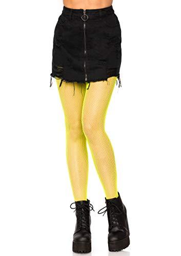 Leg Avenue Women's Nylon Fishnet Pantyhose, Neon Yellow, O/S