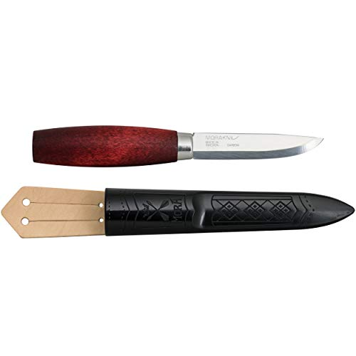 Morakniv Classic No. 1/0 Wood Handle Utility Knife with Carbon Steel Blade, Red Birchwood (13603), One Size