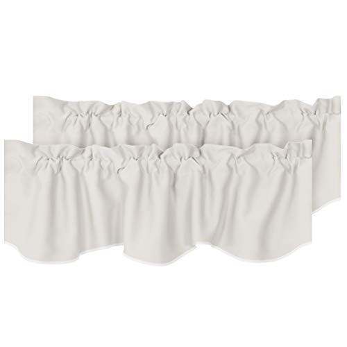 """H.VERSAILTEX 2 Panels Blackout Curtain Valances for Kitchen Windows/Living Room/Bathroom Privacy Protection Rod Pocket Decoration Scalloped Winow Valance Curtains, 52"""" W x 18"""" L, Cream"""