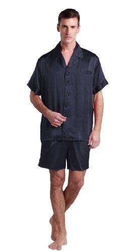 LilySilk 22 Momme Seiden Nachthemd Nachtwäsche Nachtkleider Herren - L Dunkel Blau