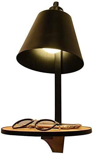YOULAN Wandleuchte aus Edelstahl Minimalistische Stil Metall Wandleuchte Wandleuchte E27 Modern Nordic Bettde mit Holzaufbewahrungsschale Kreative Persönlichkeit Schmiedeeisen Holz WandleuchtenLED