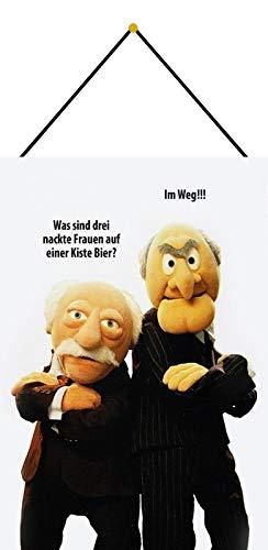 Blechschild 20x30cm gewölbt mit Kordel Muppet Show Waldorf Statler Frauen Bier Deko Geschenk Schild Tin Sign