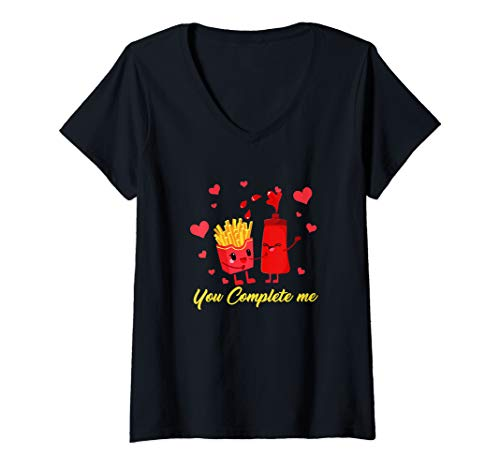 Womens French Fries Ketchup Shirt Valentine Couple Food Complete V-Neck T-Shirt