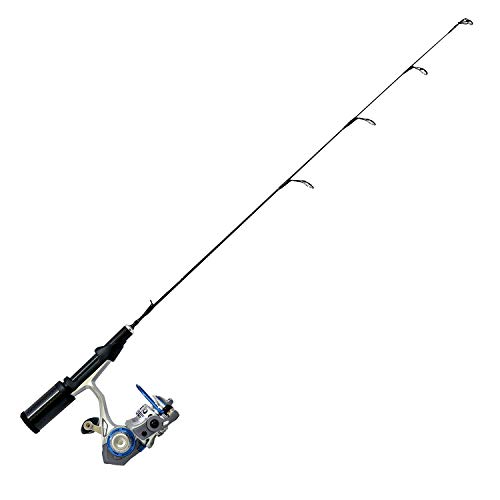 """Quantum Glacier XTi Spinning Reel and Ice Fishing Rod Combo, Solid Carbon Rod, 8-Ball Bearing Lightweight Graphite Ice Fishing Reel with Aluminum Spool, 28"""" (GLXTi0528M.NS4)"""