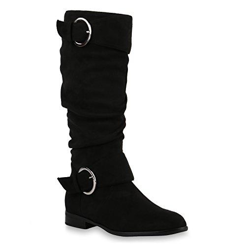 Klassische Damen Stiefel Wildleder-Optik Boots Schuhe 144182 Schwarz Avion 37 Flandell