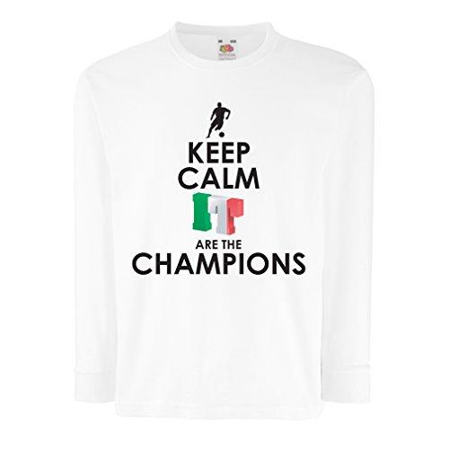 Niños/Niñas Camiseta Los Italianos Son los campeones, el Campeonato de Rusia 2018, la Copa del Mundo de fútbol, el Equipo de Aficionados de Italia (12-13 Years Blanco Multicolor)