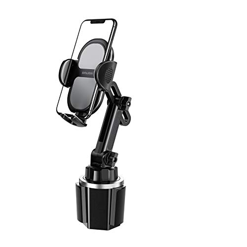 SPARIN Soporte para Vaso Ajustable Universal para Coche portátil Soporte para Coche para teléfonos celulares Soporte para teléfono con Soporte para Taza para automóvil Negro