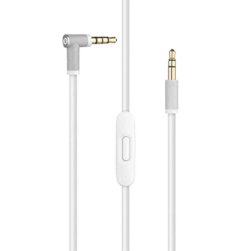 Replacement Audio Cable Cord Wire with in line Microphone and Control For Beats by Dr Dre Headphones Solo Studio Pro Detox Wireless Mixr Executive Pill (White)