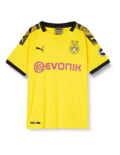 PUMA Jungen BVB Home Shirt Replica Jr Evonik with OPEL Logo Trikot, Cyber Yellow Black, 152