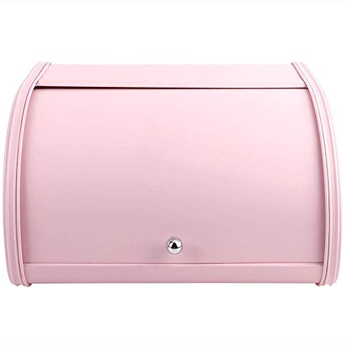 BBGSFDC Gran Capacidad de Metal Box Pan, Pan Bin Soporte del contenedor de Almacenamiento Organizador con Fundamentos Roll-Top Tapa, de preparación en la Cocina (Color : Pink)