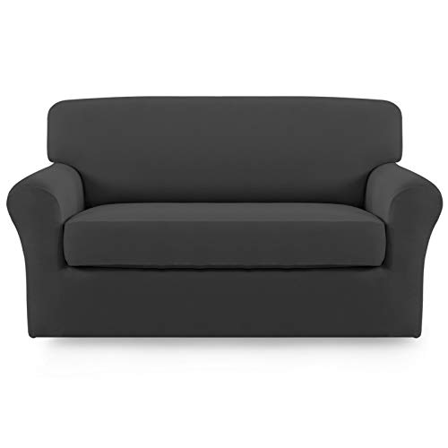 Easy-Going 2 Pieces Microfiber Stretch Sofa Slipcover – Spandex Soft Fitted Sofa Couch Cover, Washable Furniture Protector with Elastic Bottom Kids,Pet (Loveseat,Dark Gray)