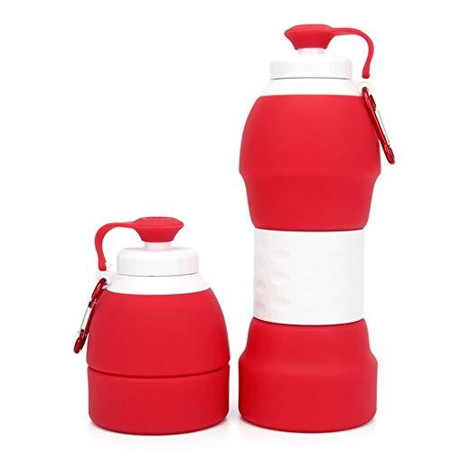 XINXI-MAO Herramientas de Camping Taza de Viaje Plegable de Silicona con Tapa Tapa para Acampar Copa de Beber Extensible Azul Rojo Gris Verde (Color : Red)