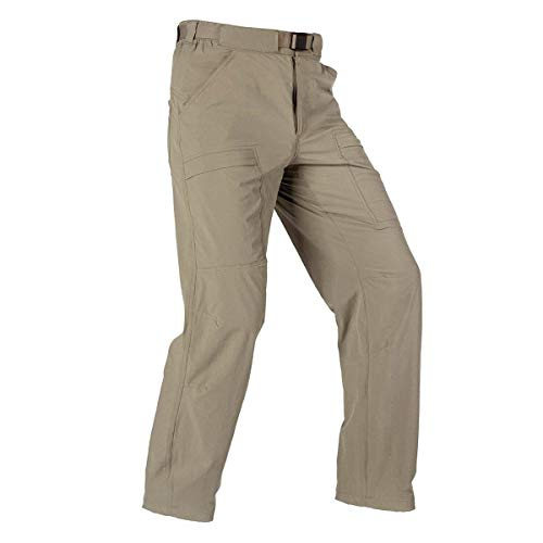 FREE SOLDIER Men's Outdoor Cargo Hiking Pants Lightweight Waterproof Quick Dry Tactical Pants Nylon Spandex (Sand, 30W x 30L)