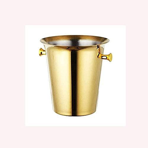 Cubo de hielo dorado – 5 litros con doble pared oculta aislado cubo de hielo con mango de acero inoxidable grande conveniente