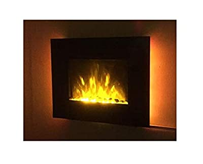 TruFlame 2020 LED Side Lit (7 colours) Wall Mounted Flat Glass Electric Fire with Log and Pebble Effect (66cm wide)