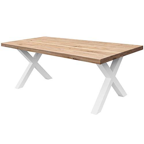 COMIFORT Mesa de Comedor - Mueble para Salon Oficina Despacho Robusto y Moderno de Roble Macizo Color Dorado, Patas de Acero X-Forma Blancas (130x75 cm)