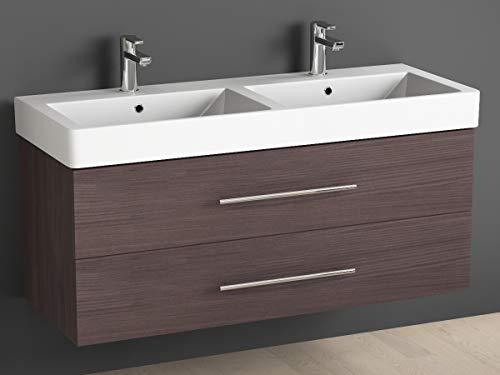 Aqua Bagno badkamermeubel 120 cm incl. keramiek dubbele wastafel/badkamermeubel met dubbele wastafel en onderkast - 2 hoogwaardige softclose metalen uitschuifbaar - Hacienda bruin