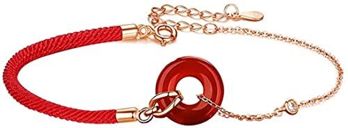 ZKZKK Pulsera de la Riqueza Feng Shui Pulsera roja roja de ágata roja a Mano, Buena para la Riqueza y el Amor, Feng Shui protección Rojo Cuerda Pulsera Puede traer Suerte y Prosperidad
