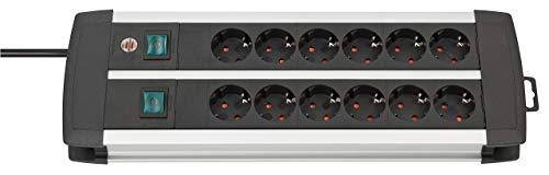 Brennenstuhl Premium-Alu-Line regleta enchufes con 12 tomas de corriente y 2 interruptores individuales (cable de 3 m, interruptor iluminado, Made in Germany) plateado/negro